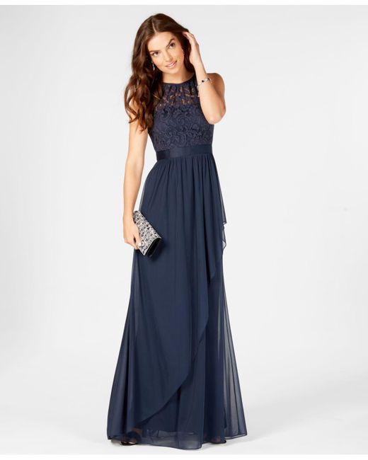 36e6119fe9f Adrianna Papell - Blue Lace Tulle Stretch Halter Gown - Lyst ...