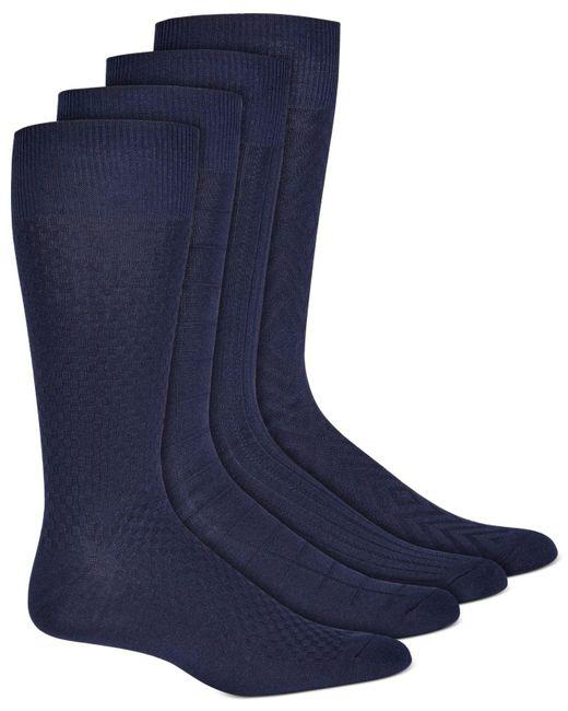 Alfani Blue 4-pk. Textured Socks, Created For Macy's for men