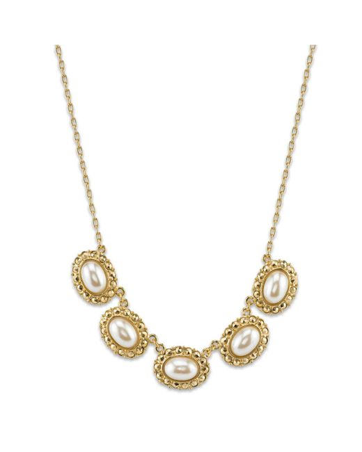 """2028 - Metallic Gold-tone Simulated Pearl Oval Collar Necklace 16""""adjustable - Lyst"""