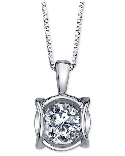 Sirena - Diamond Modern Pendant Necklace (1/4 Ct. T.w.) In 14k White Gold - Lyst