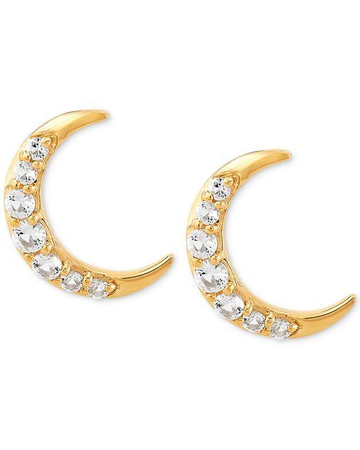 Women S White Topaz Crescent Moon Stud Earrings 1 2 Ct T W In 14k Gold