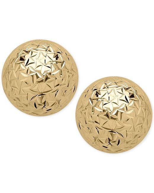Macy's - Metallic Crystal-cut Ball Stud Earrings (10mm) In 14k Gold - Lyst
