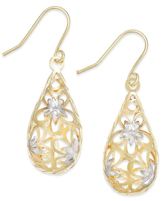 Macy's Metallic Two-tone Floral Teardrop Drop Earrings In 10k Gold