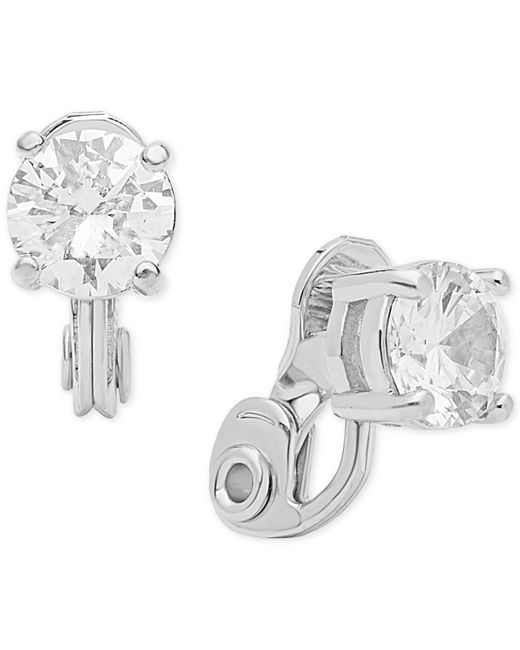 Anne Klein - Metallic Crystal Solitaire E-z Comfort Clip-on Earrings - Lyst