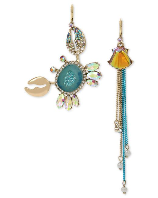 Betsey Johnson - Blue Two-tone Multi-stone Crab & Shell Mismatch Earrings - Lyst
