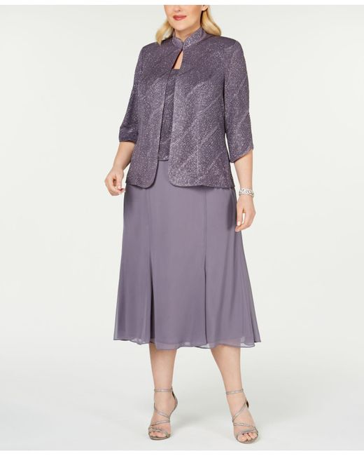 3976d203bb691 Alex Evenings - Purple Plus Size Tea-length Dress & Jacket - Lyst ...