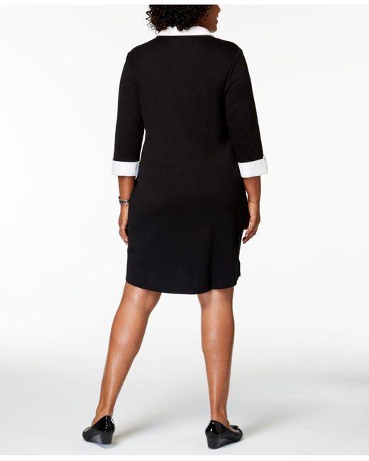 Women\'s Black Plus Size Cotton Dress, Created For Macy\'s