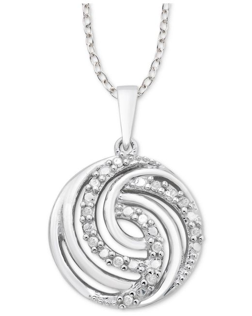 "Macy's - Metallic Diamond Swirl 18"" Pendant Necklace (1/10 Ct. T.w.) In Sterling Silver - Lyst"