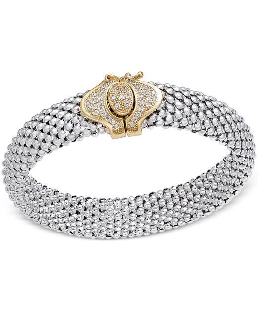 Macy's | Metallic Diamond Dew Drop Popcorn Mesh Bracelet (1/2 Ct. T.w.) In Sterling Silver And 14k Gold-plate | Lyst