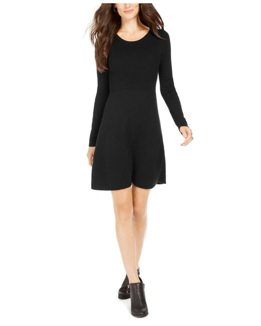 Style & Co. Black Ribbed-knit Sweater Dress, Created For Macy's