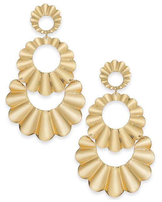 Kate Spade - Metallic Gold-tone Scalloped Triple Drop Earrings - Lyst