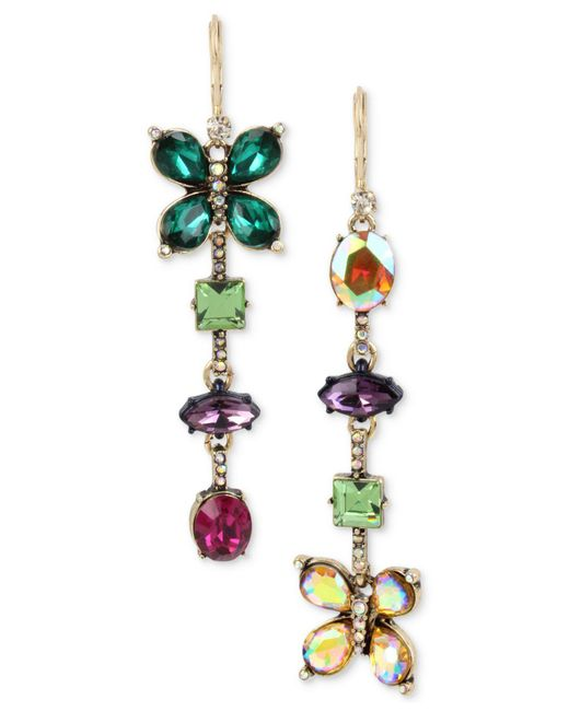 Betsey Johnson | Multicolor Gold-tone Crystal Butterfly Mismatch Earrings | Lyst