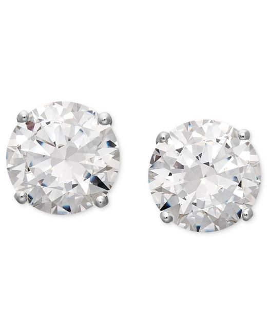Arabella | Metallic 14k White Gold Earrings, Swarovski Zirconia Round Stud Earrings (6-5/8 Ct. T.w.) | Lyst