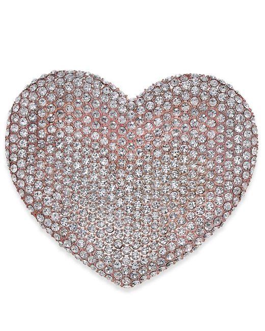 Joan Boyce - Pink Rose Gold-tone Pavé Heart Pin - Lyst