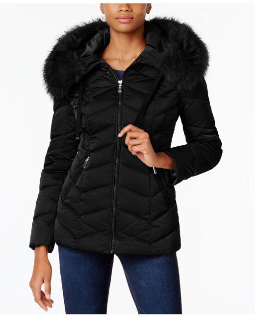 T Tahari | Black Faux-fur-trim Hooded Coat | Lyst