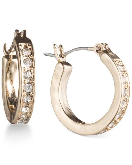 Lonna & Lilly - Metallic Gold-tone Pavé Crystal Hoop Earrings - Lyst