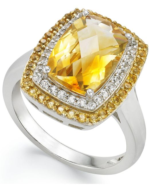Macy's - Metallic Sterling Silver Ring, Citrine (3-1/3 Ct.t .w.) And White Topaz (1/5 Ct. T.w.) Rectangle Ring - Lyst