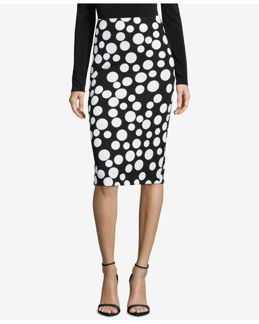Eci - Black Printed Pencil Skirt - Lyst