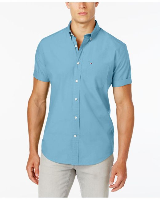 Tommy Hilfiger Blue Maxwell Short-sleeve Button-down Shirt for men