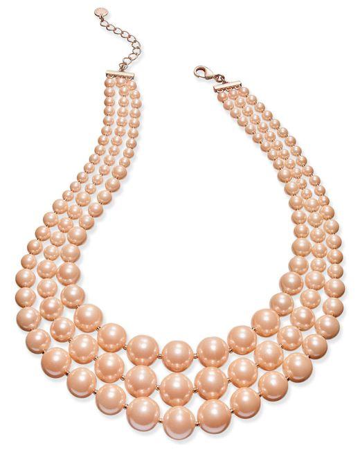 Charter Club - Pink Imitation Pearl Three-row Collar Necklace - Lyst