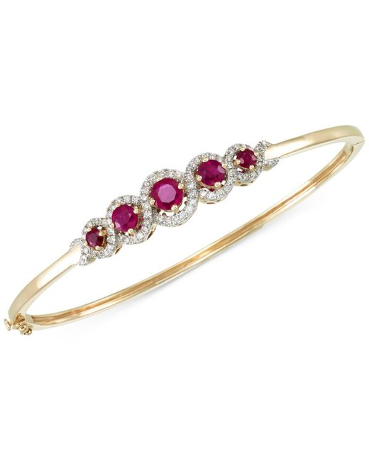 Rare Featuring Gemfields - Multicolor Certified Ruby (1-3/4 Ct. T.w.) And Diamond (1/2 Ct. T.w.) Bangle Bracelet In 14k Gold - Lyst
