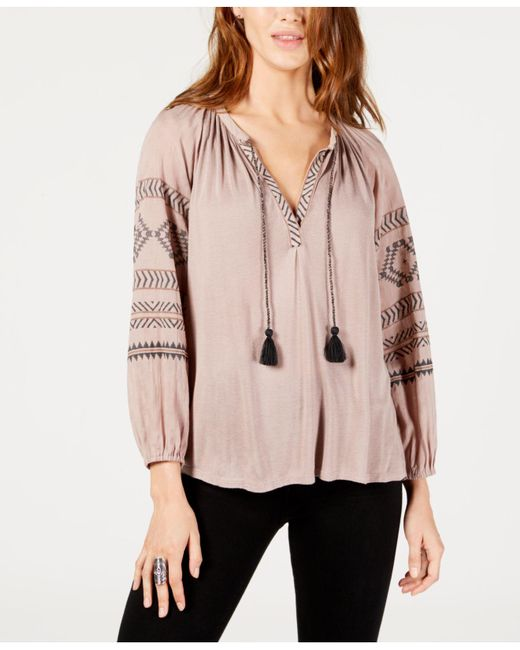 Lucky Brand - Pink Embroidered Peasant Top - Lyst
