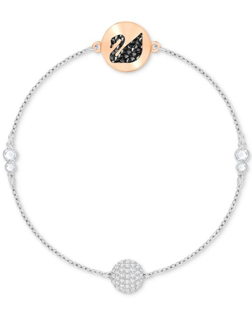 Swarovski - Metallic Two-tone Crystal Swan & Sphere Magnetic Bracelet - Lyst