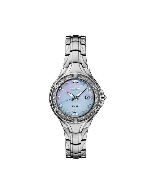 Seiko Metallic Solar Diamond Collection Diamond-accent Stainless Steel Bracelet Watch 29mm