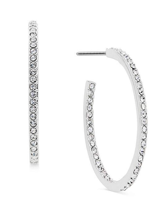 Danori | Metallic Silver-tone Pavé Hoop Earrings | Lyst