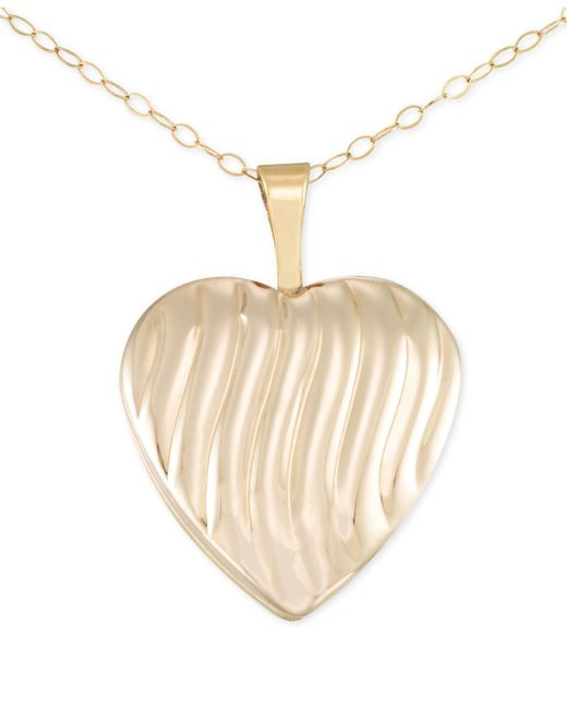 Macy's | Metallic Textured Heart Pendant Necklace In 14k Gold | Lyst