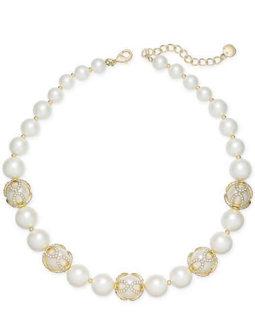 Charter Club | Metallic Gold-tone Imitation Pearl And Pavé All-around Collar Necklace | Lyst