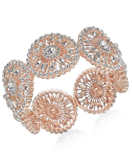 INC International Concepts Multicolor Inc Rose Gold-tone Crystal Circle Stretch Bracelet, Created For Macy's