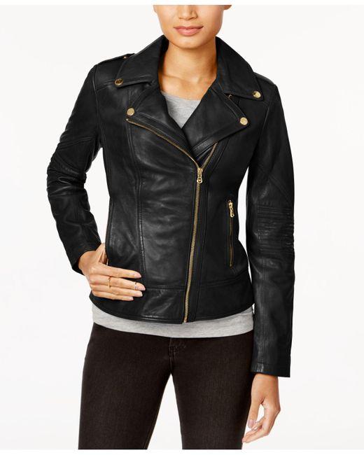 Guess - Black Asymmetrical Leather Moto Jacket - Lyst
