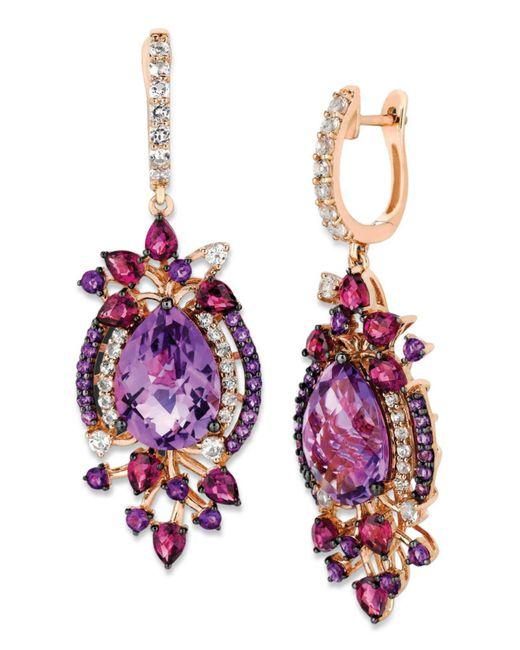 Le Vian - Multicolor Multistone Drop Earrings In 14k Rose Gold (13-1/2 Ct. T.w.) - Lyst