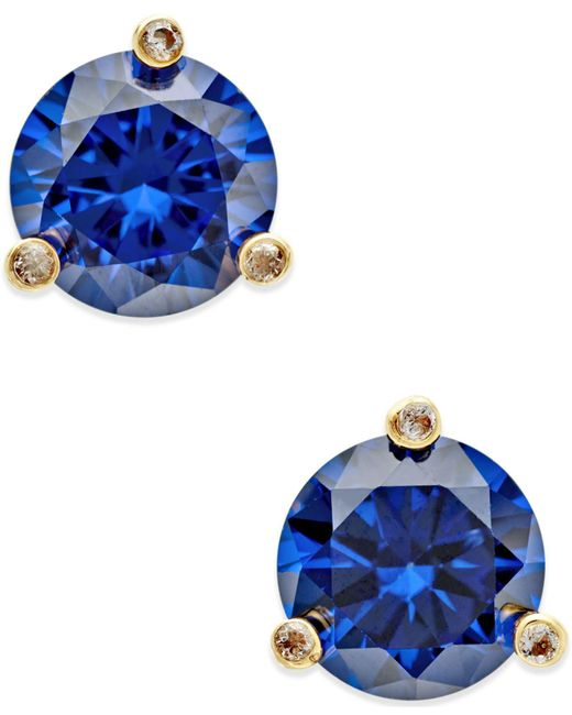 Kate Spade - Blue Gold-tone Mini Round Stud Earrings - Lyst