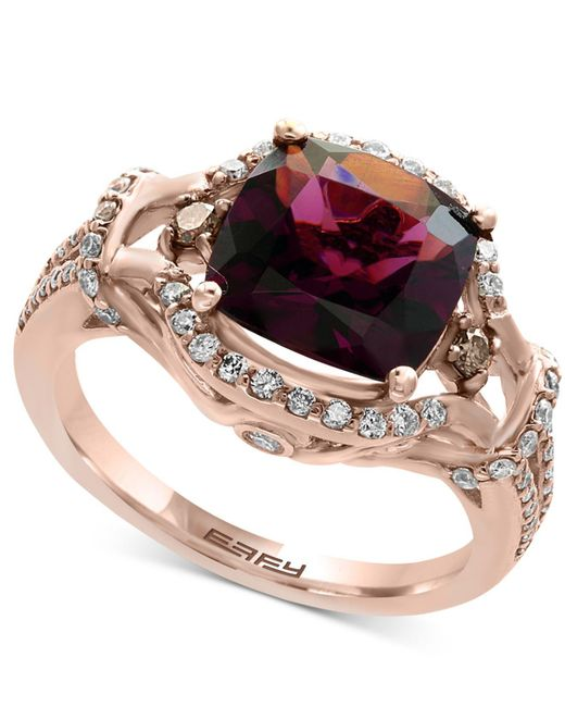 Effy Collection | Metallic Rhodolite Garnet (3-3/8 Ct. T.w.) And Diamond (1/2 Ct. T.w.) Ring In 14k Rose Gold | Lyst