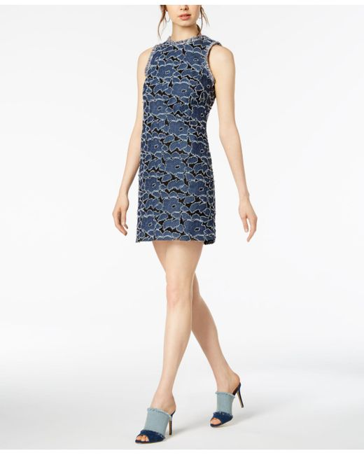 Julia Jordan - Blue Denim-appliqué Fringe Dress - Lyst