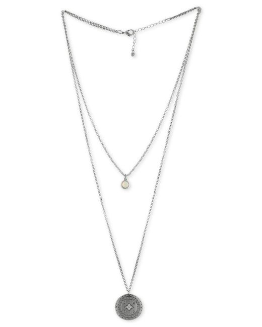 RACHEL Rachel Roy - Metallic Silver-tone White Stone & Etched Disc Double-row Pendant Necklace - Lyst