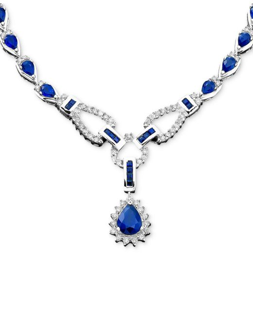 Macy's - Blue Sapphire (12-1/3 Ct. T.w.) And Diamond (1-1/5 Ct. t.w.)Toggle Necklace In 14k White Gold (also In Ruby & Emerald) - Lyst