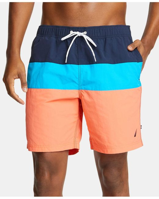 ccd571fa8e Nautica - Blue Big & Tall Colorblocked Swim Trunks for Men - Lyst ...