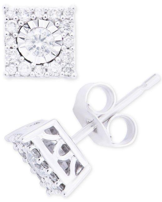 011911a2296 Women's Diamond Cluster Stud Earrings (1/3 Ct. T.w.) In 14k White Gold
