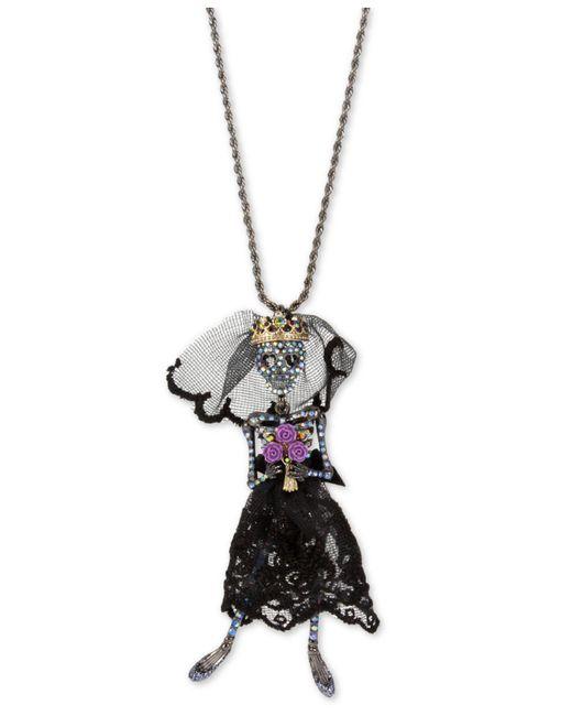 "Betsey Johnson - Black-tone Crystal & Mesh Skeleton Bride Pendant Necklace, 36"" + 3"" Extender - Lyst"