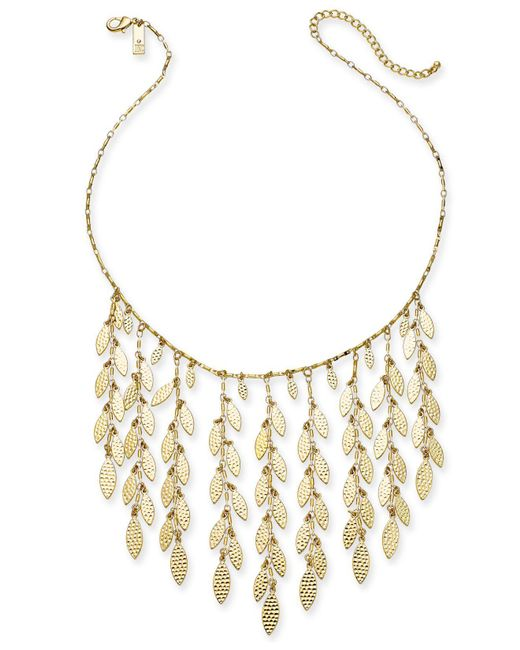 """INC International Concepts - Metallic I.n.c. Gold-tone Shaky Leaf Statement Necklace, 19"""" + 3"""" Extender, Created For Macy's - Lyst"""
