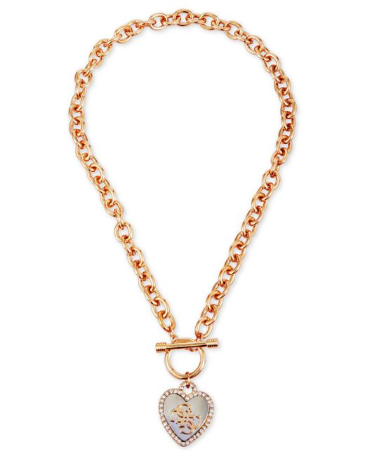 Guess - Metallic Two-tone Crystal Heart Pendant Toggle Necklace - Lyst