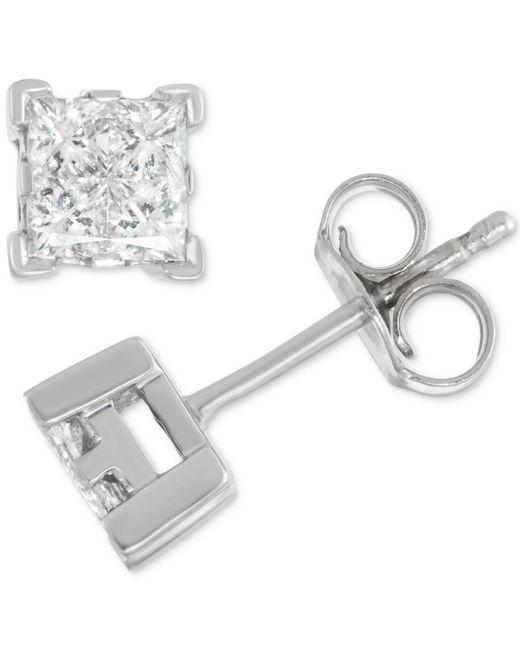 Macy's - Multicolor Diamond Princess Stud Earrings (1/2 Ct. T.w.) In 14k White Gold - Lyst