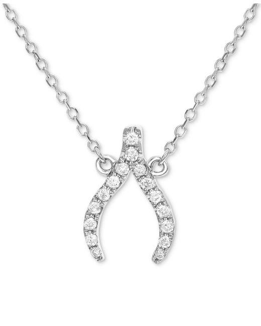 Macy's - Metallic Diamond Wishbone Pendant Necklace (1/8 Ct. T.w.) In 14k White Gold - Lyst