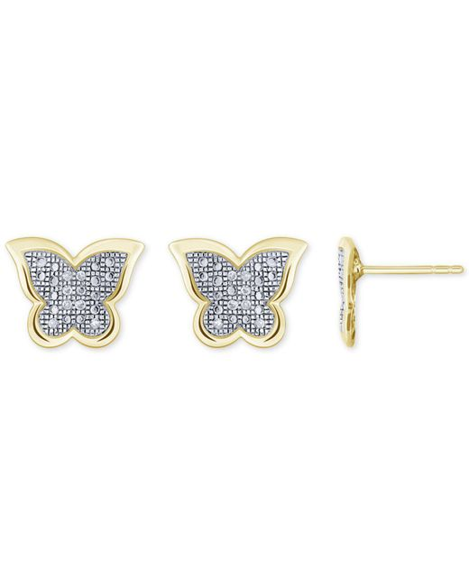 Macy's - Metallic Diamond Accent Butterfly Stud Earrings In 10k White, Yellow Or Rose Gold - Lyst