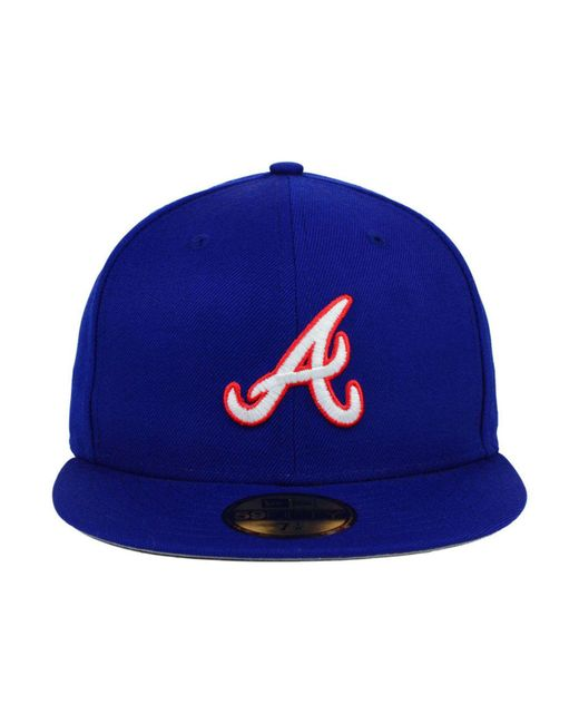 the best attitude 7f82a 6311e ... KTZ - Blue Atlanta Braves Mlb Cooperstown 59fifty Cap for Men - Lyst ...
