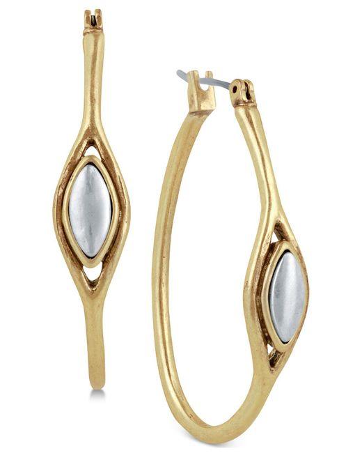 """Lucky Brand - Metallic Two-tone 1-1/2"""" Hoop Earrings - Lyst"""