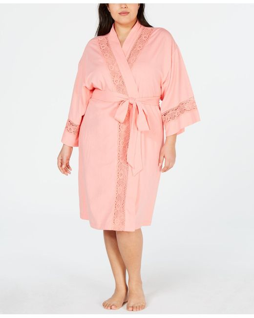 Charter Club Pink Plus-size Embroidered Lace Knit Robe, Created For Macy's